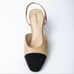 Kaitlyn Pan two tone toe cap slingback sandal